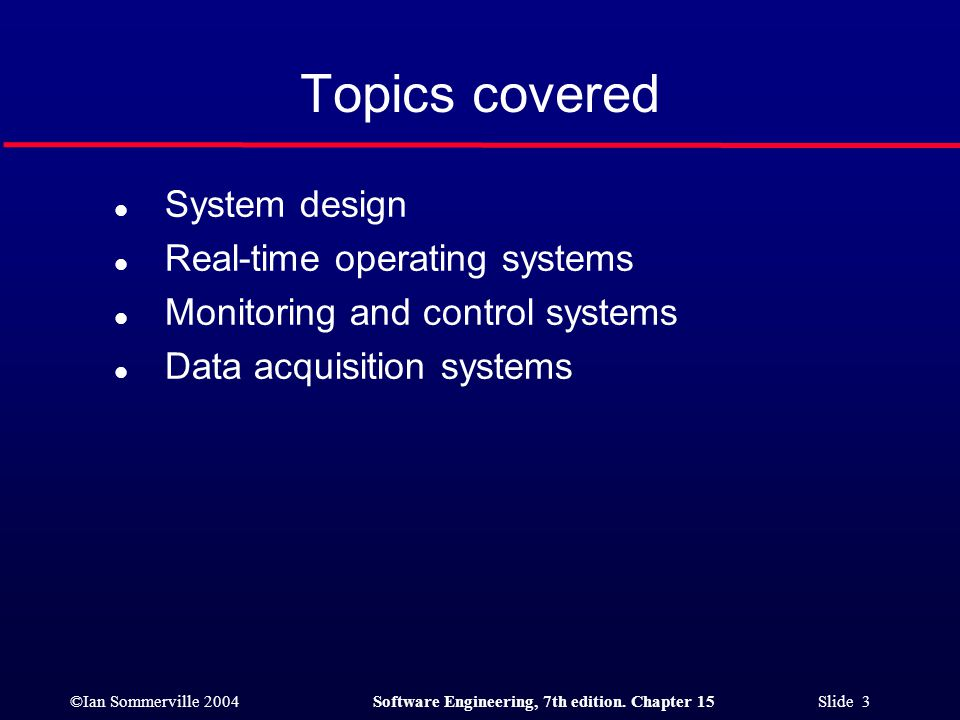 Topics covered System design Real-time operating systems