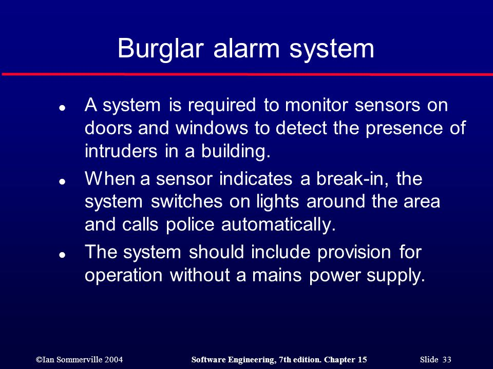 Burglar alarm system A system is required to monitor sensors on doors and windows to detect the presence of intruders in a building.