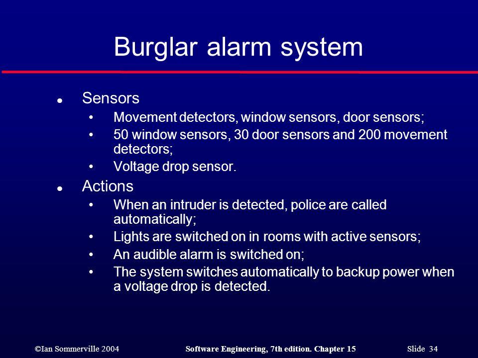 Burglar alarm system Sensors Actions