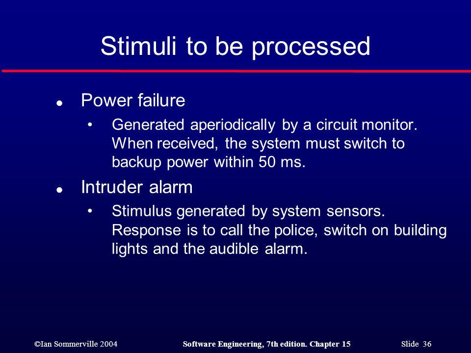 Stimuli to be processed