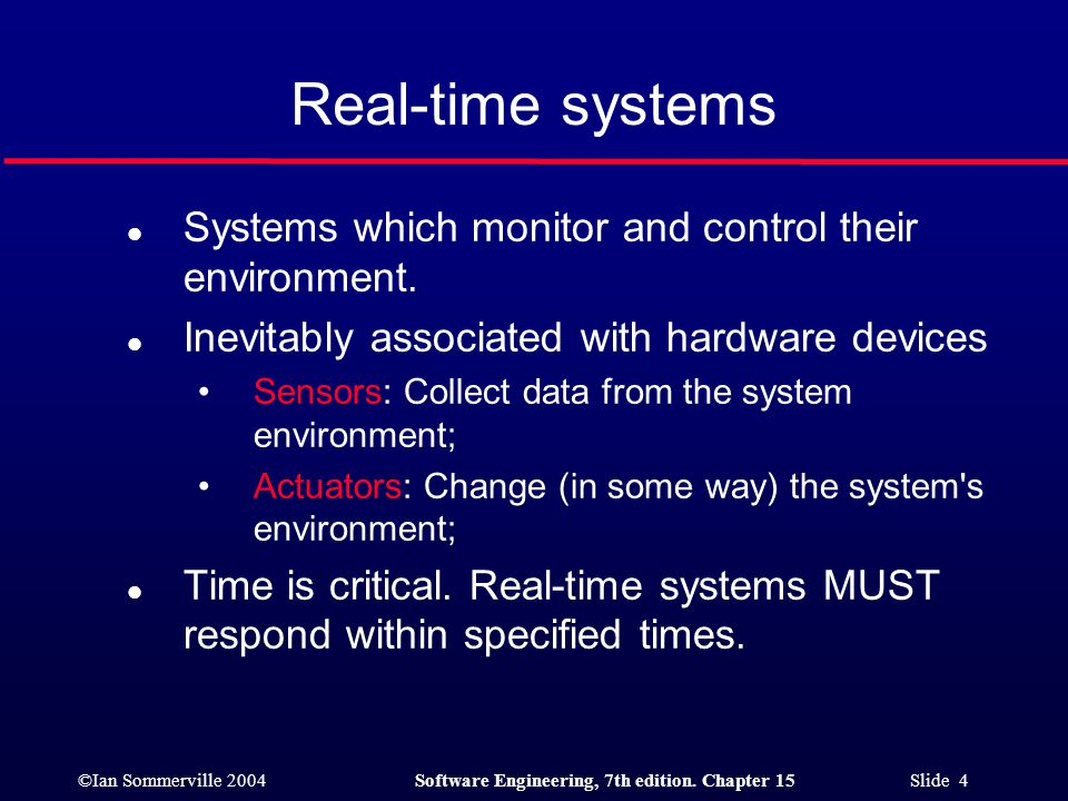 Real-time systems Systems which monitor and control their environment.