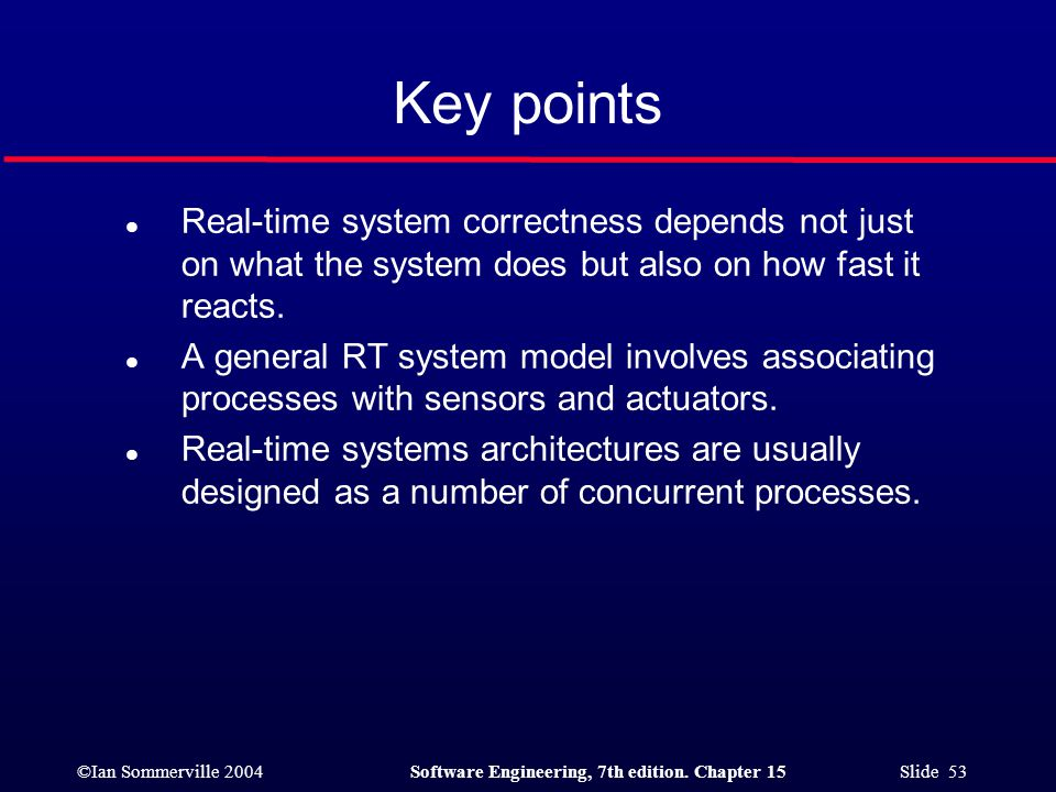 Key points Real-time system correctness depends not just on what the system does but also on how fast it reacts.