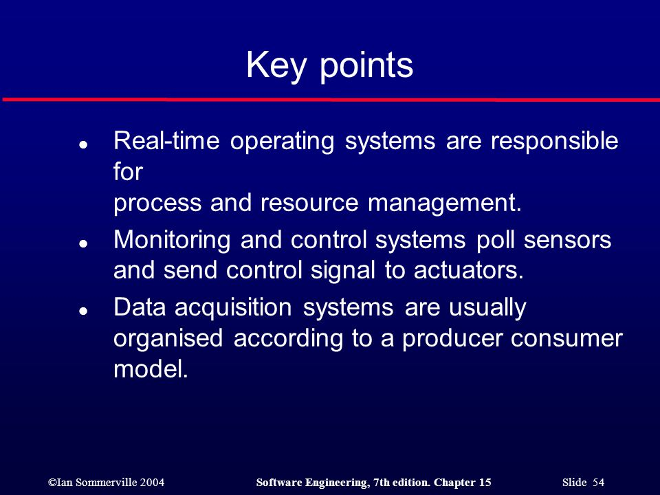 Key points Real-time operating systems are responsible for process and resource management.