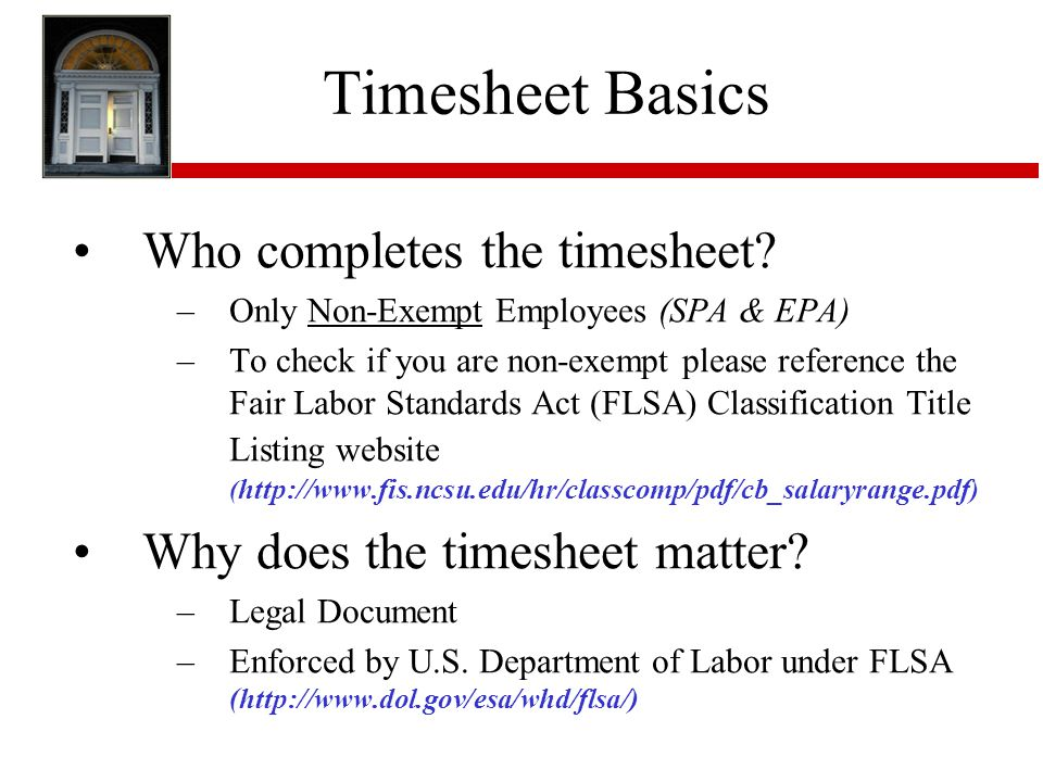 Timesheet Basics Who completes the timesheet