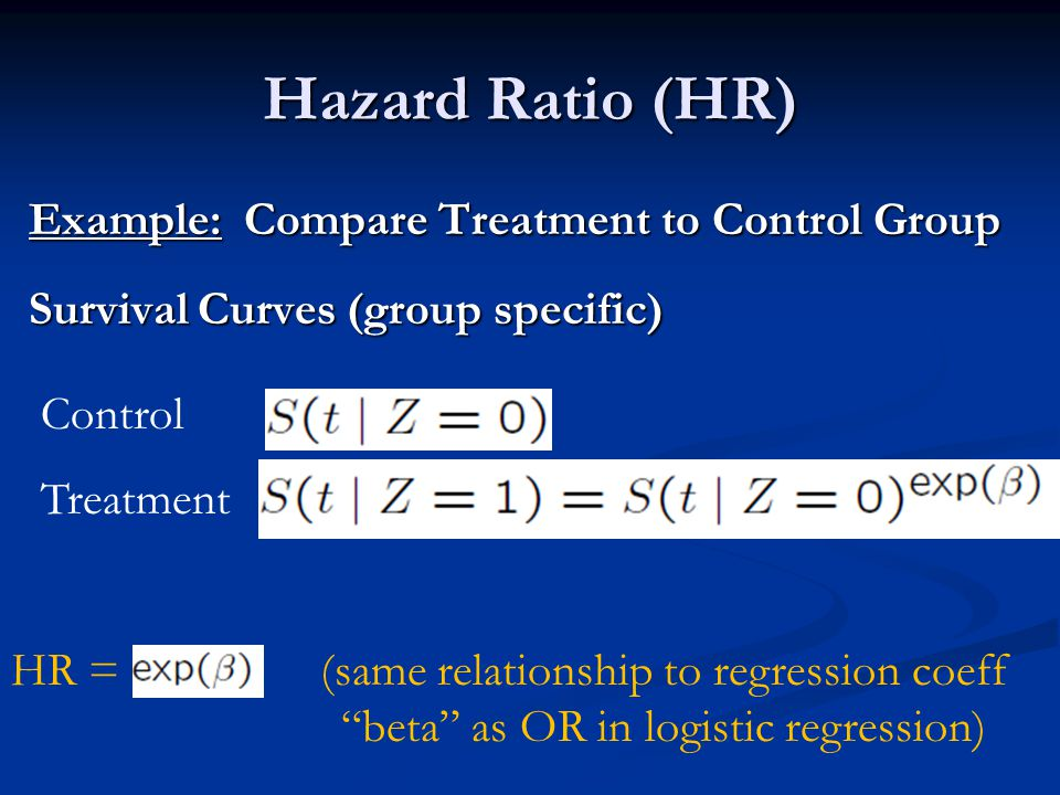Hazard Ratio (HR) Example: Compare Treatment to Control Group Survival Curves (group specific) Control.
