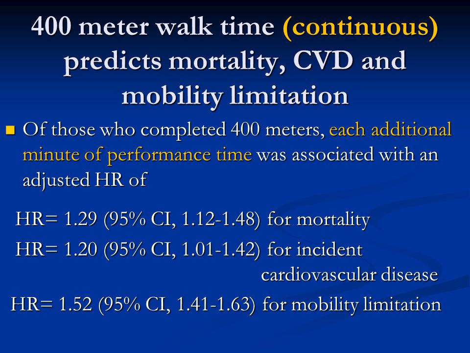 400 meter walk time (continuous) predicts mortality, CVD and mobility limitation