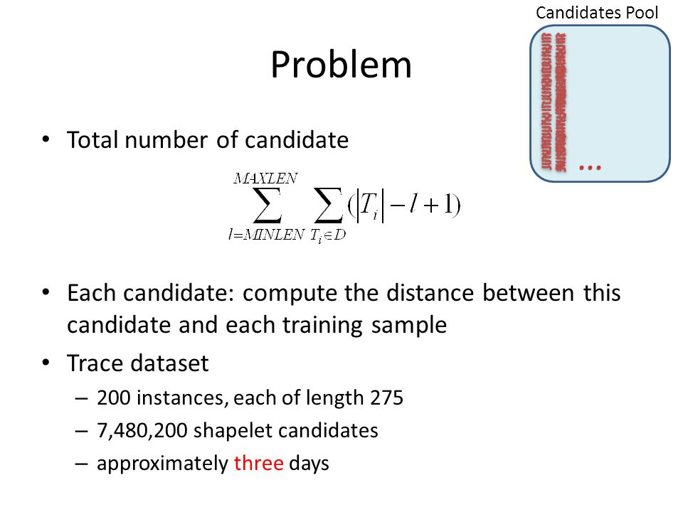 Problem Total number of candidate