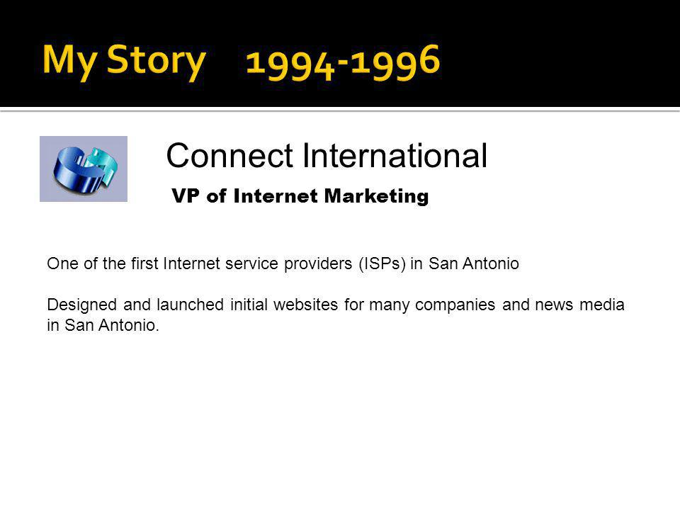 My Story 1994-1996 Connect International VP of Internet Marketing