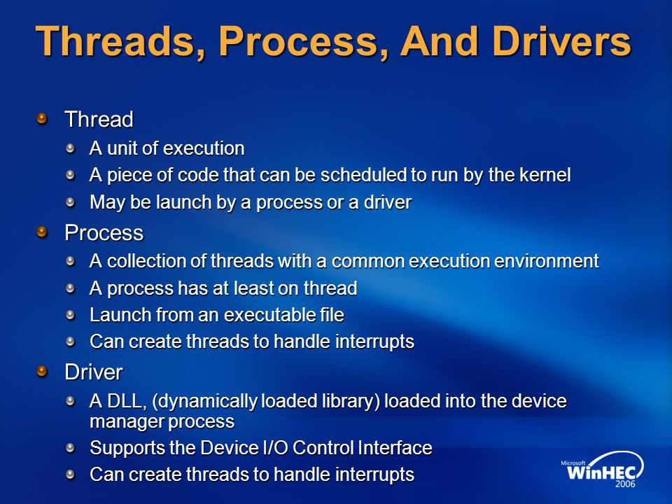 Threads, Process, And Drivers