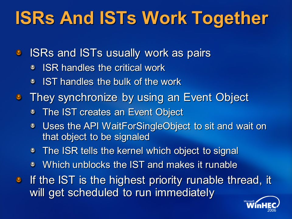 ISRs And ISTs Work Together