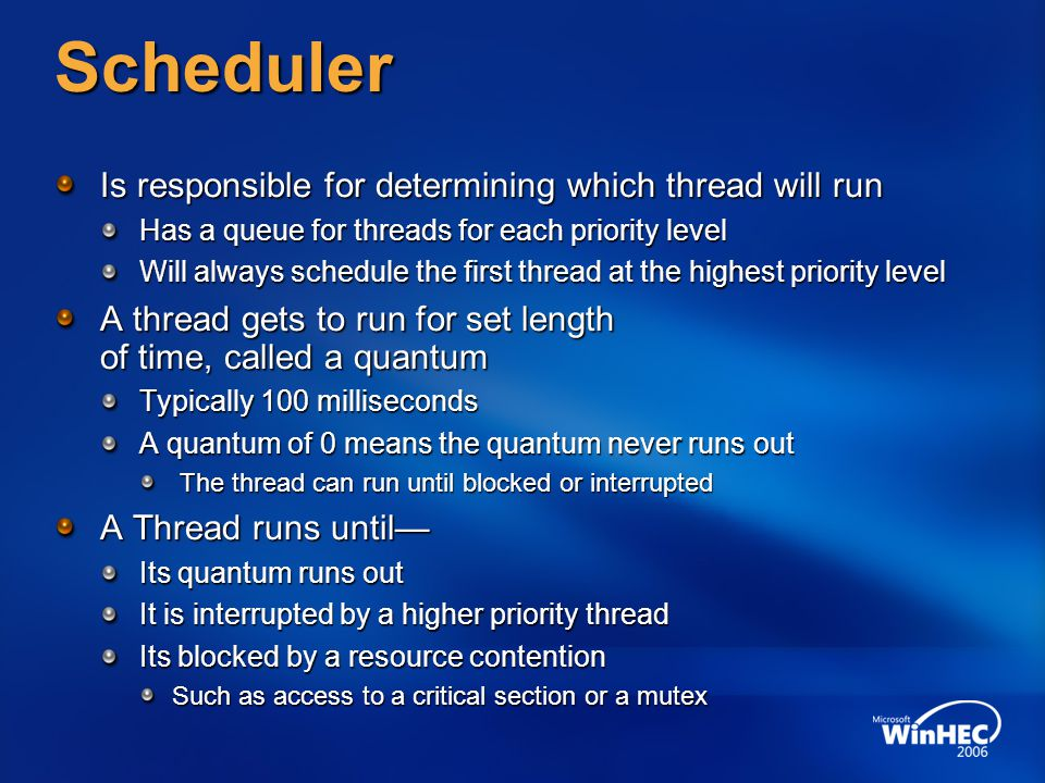 Scheduler Is responsible for determining which thread will run