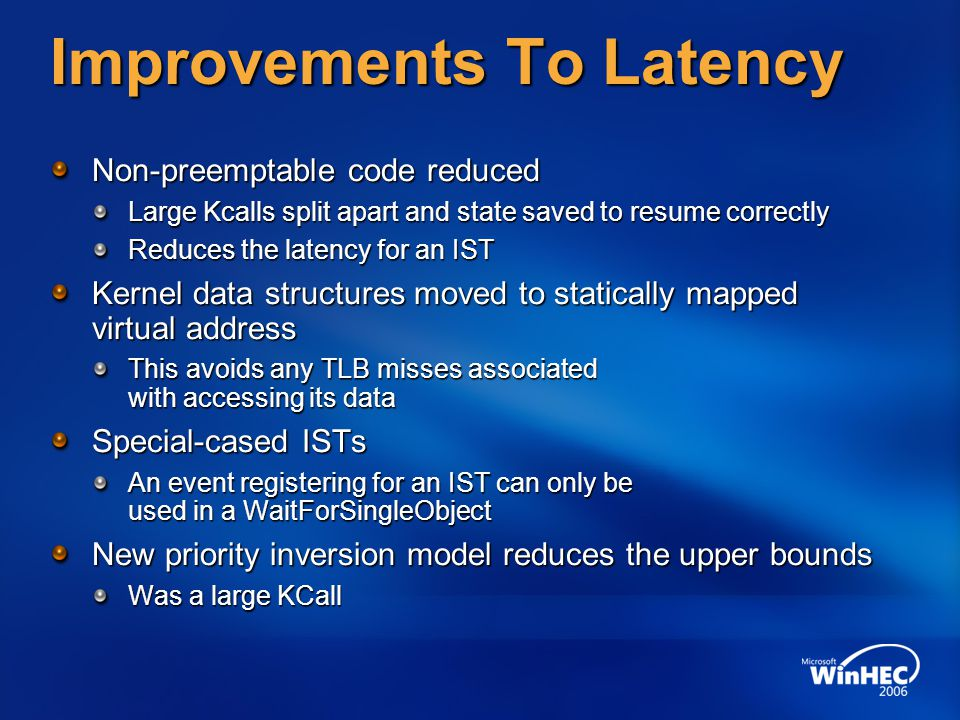 Improvements To Latency