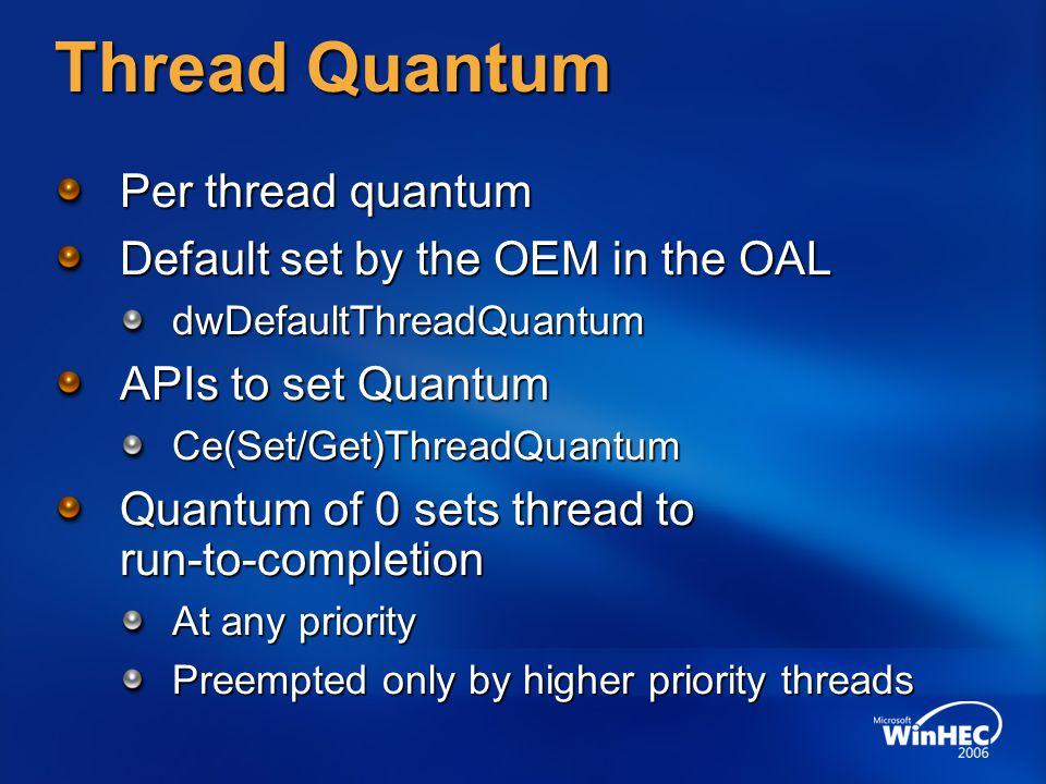 Thread Quantum Per thread quantum Default set by the OEM in the OAL