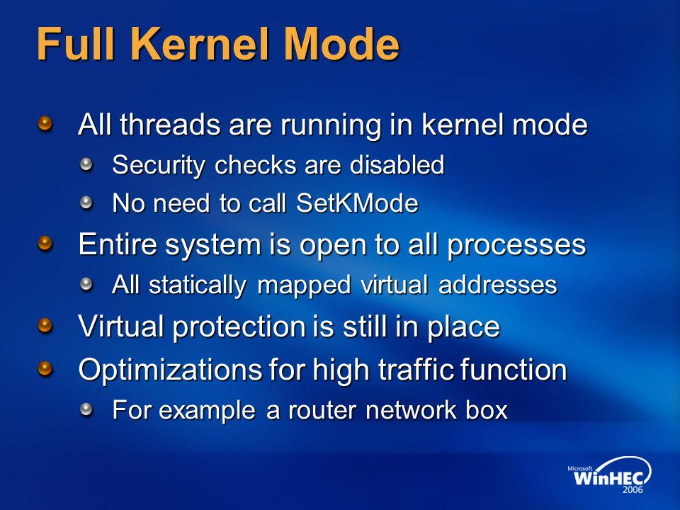 Full Kernel Mode All threads are running in kernel mode