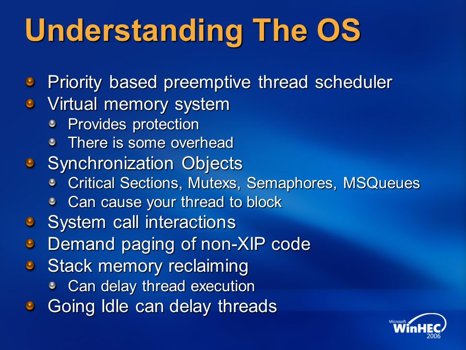 Understanding The OS Priority based preemptive thread scheduler