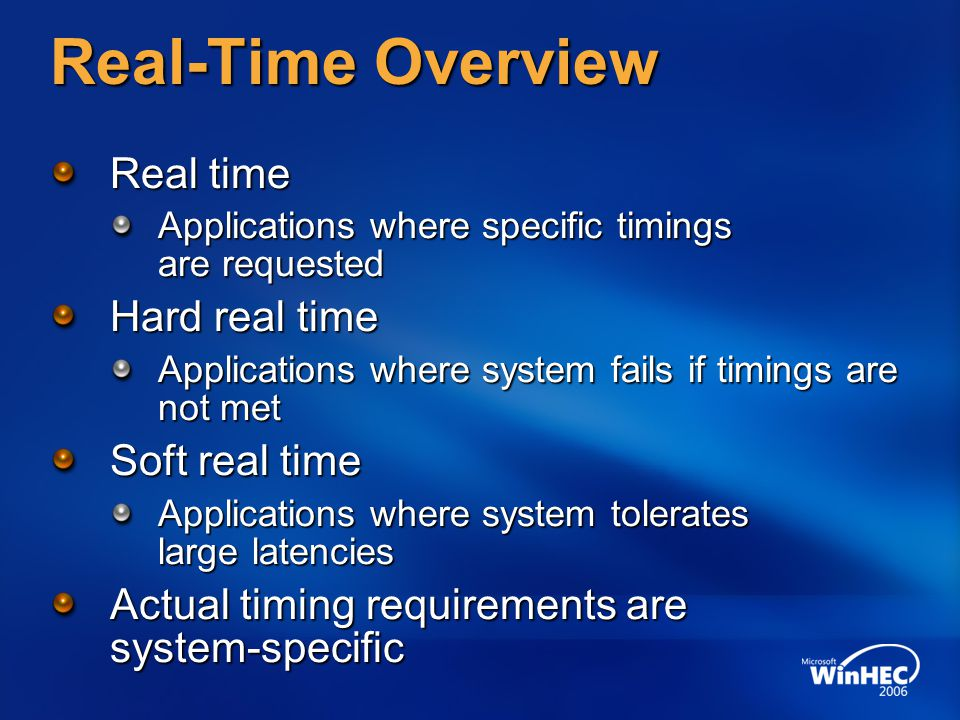 Real-Time Overview Real time Hard real time Soft real time