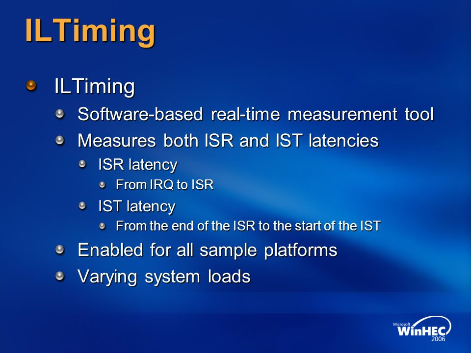 ILTiming ILTiming Software-based real-time measurement tool