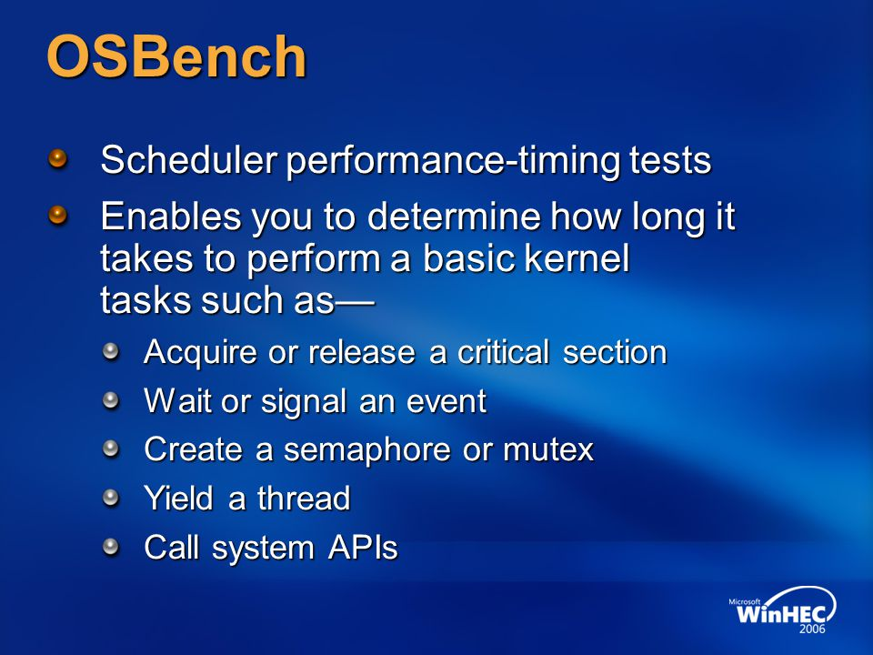 OSBench Scheduler performance-timing tests