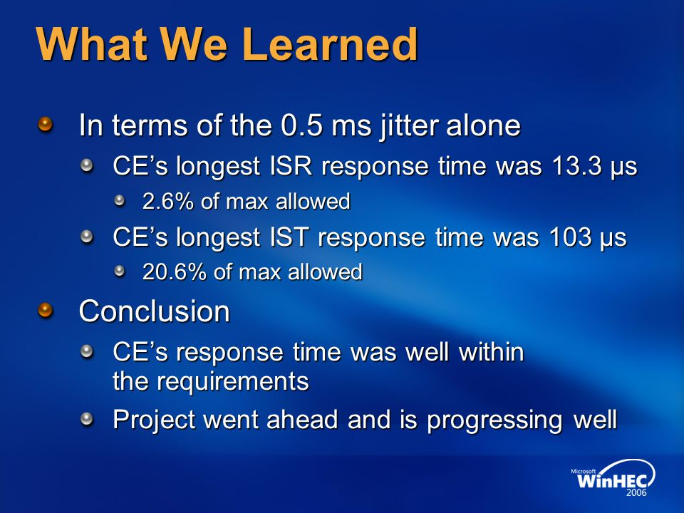 What We Learned In terms of the 0.5 ms jitter alone Conclusion