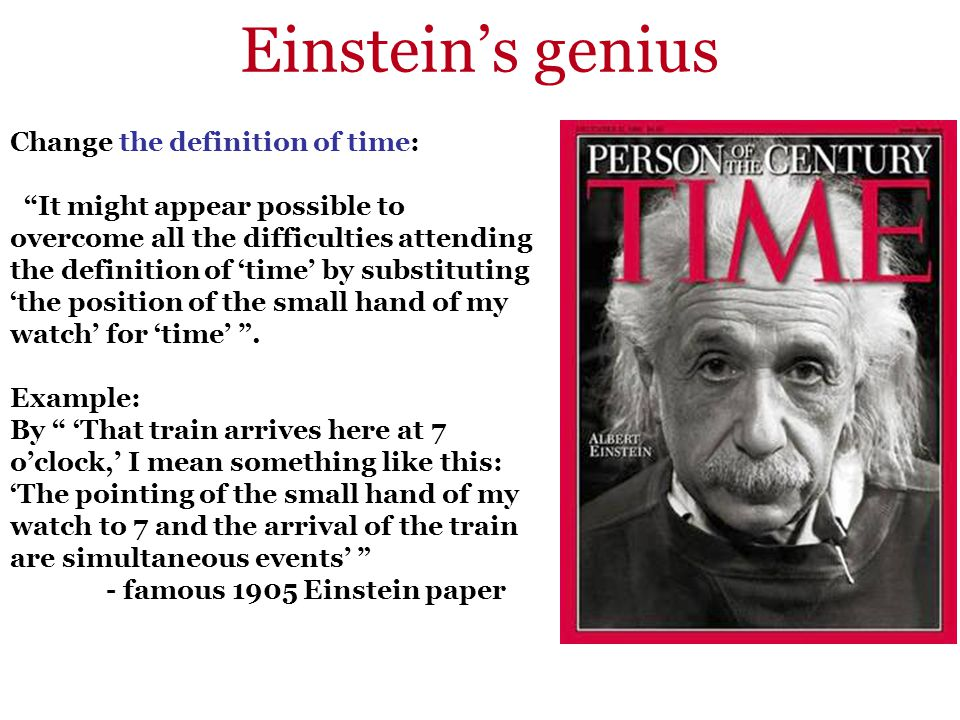 Einstein's genius Change the definition of time: