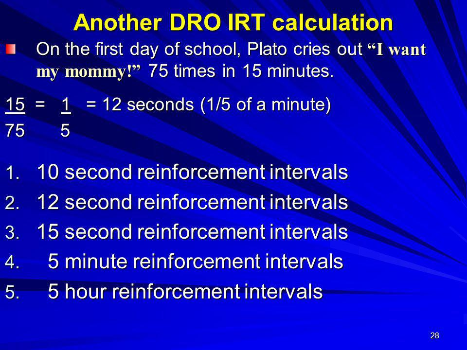 Another DRO IRT calculation