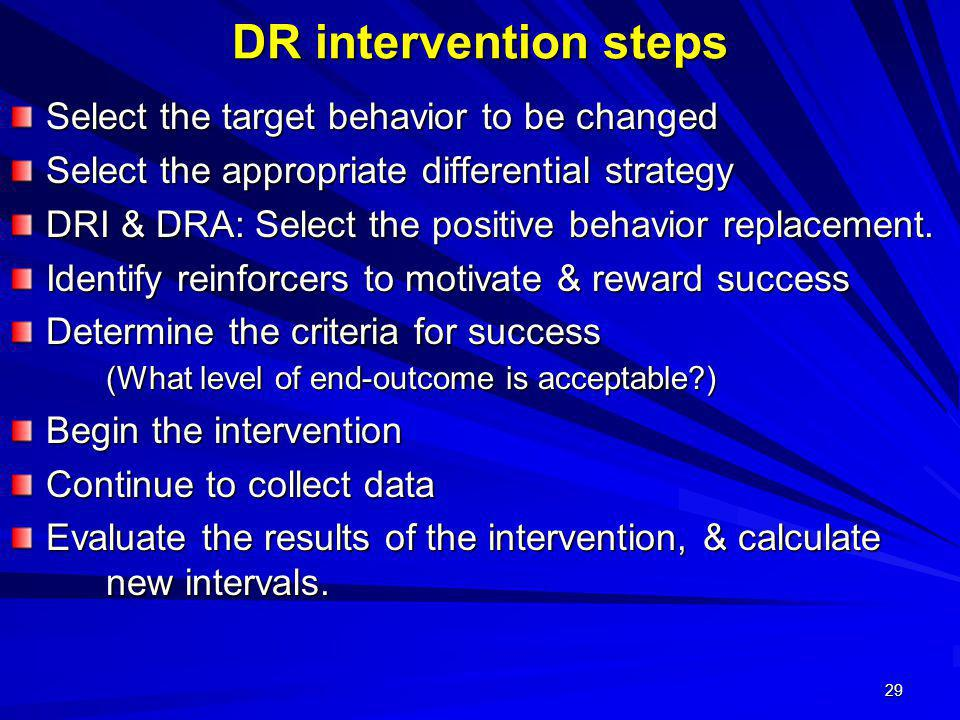 DR intervention steps Select the target behavior to be changed