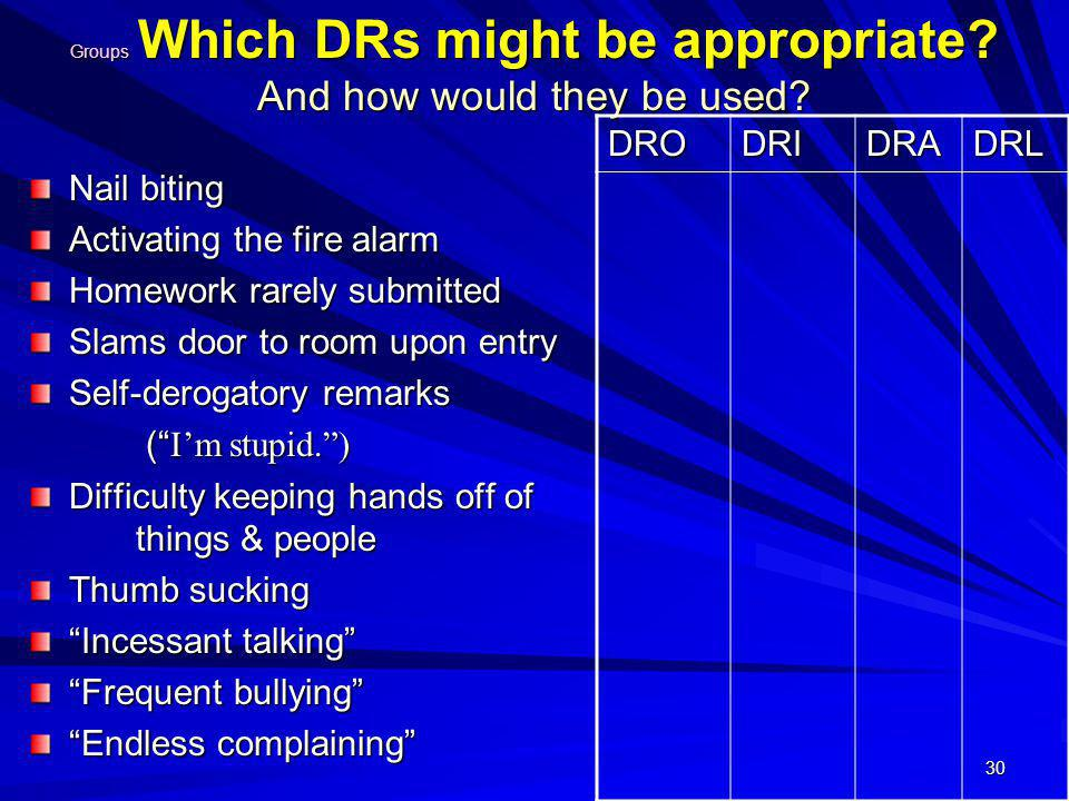 Groups Which DRs might be appropriate And how would they be used