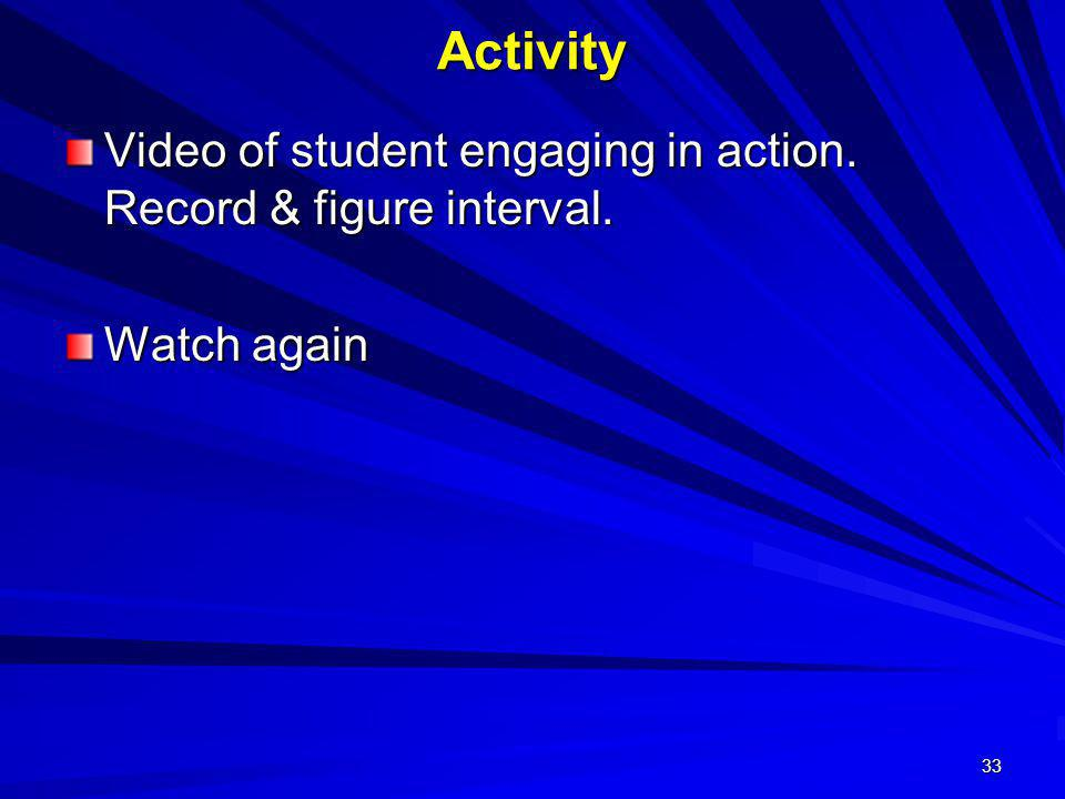 Activity Video of student engaging in action. Record & figure interval. Watch again