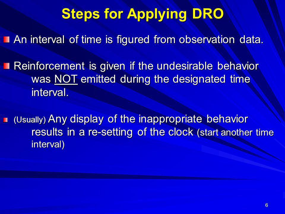 Steps for Applying DRO An interval of time is figured from observation data.