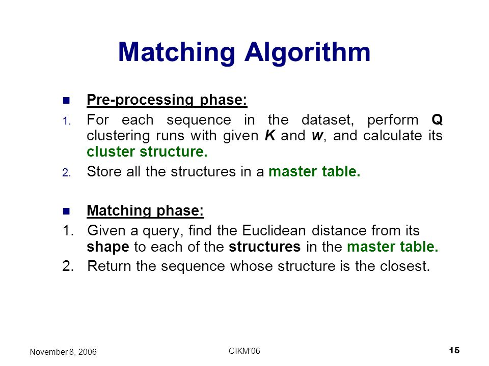 Matching Algorithm Pre-processing phase: