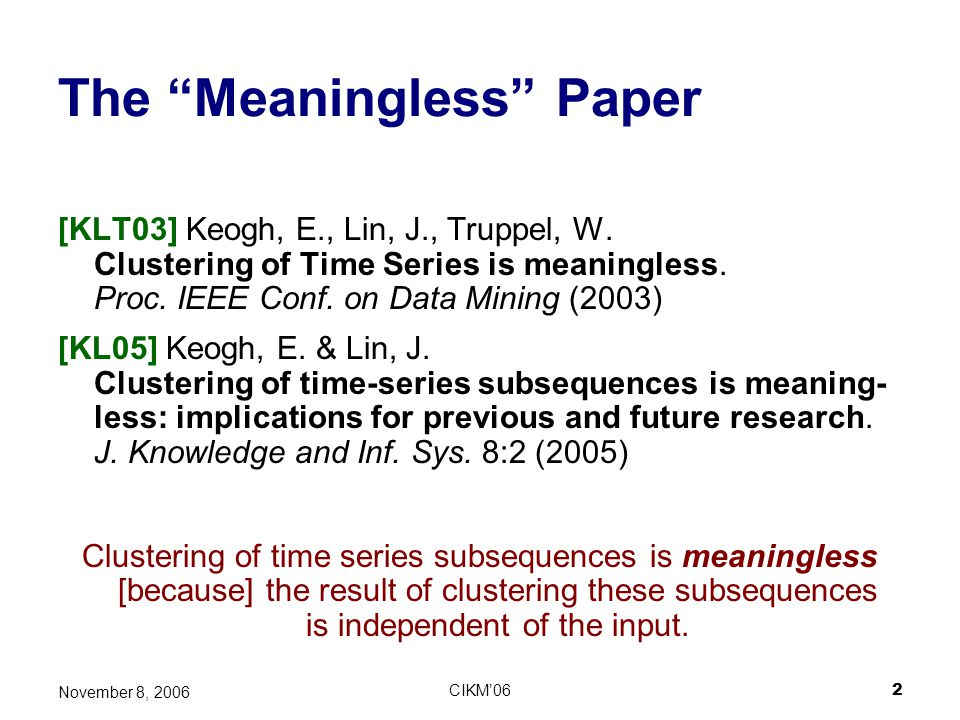 The Meaningless Paper