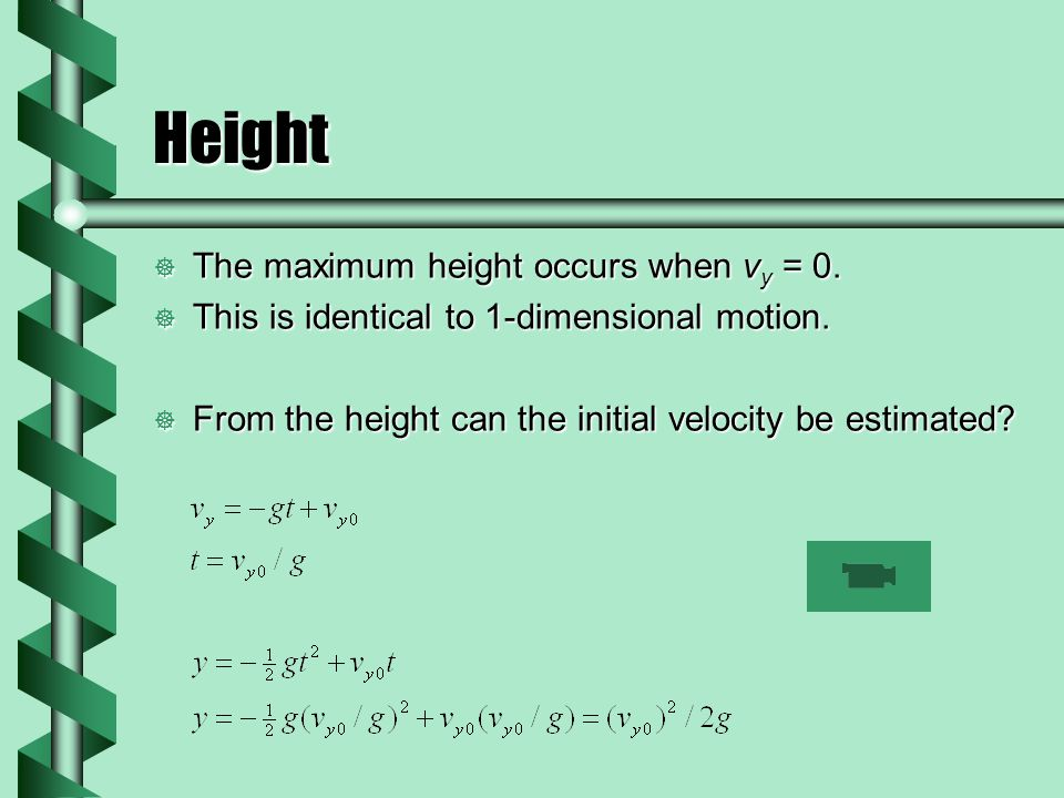 Height The maximum height occurs when vy = 0.