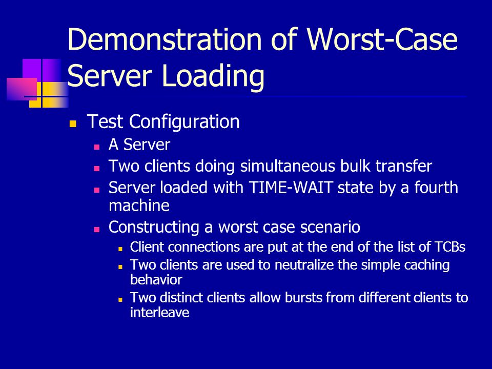Demonstration of Worst-Case Server Loading