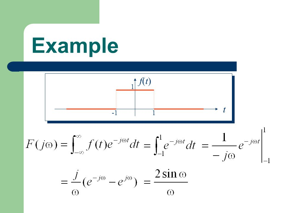 Example 1 -1 t f(t)