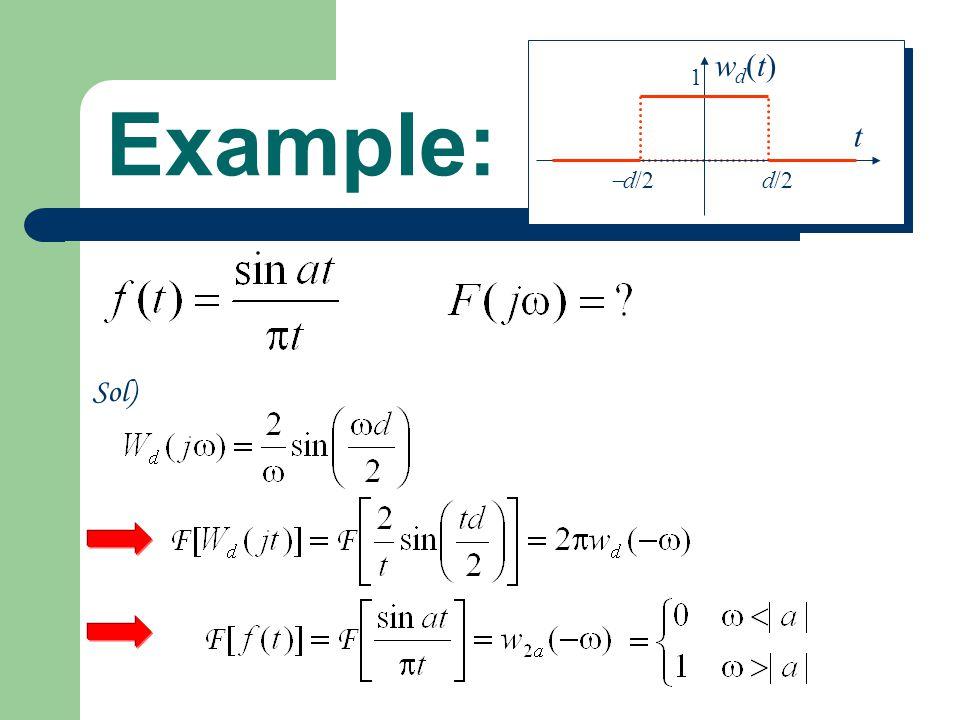 d/2 d/2 1 t wd(t) Example: Sol)
