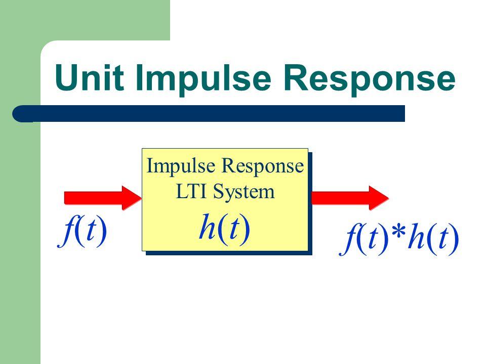 Unit Impulse Response Impulse Response LTI System h(t) f(t) f(t)*h(t)