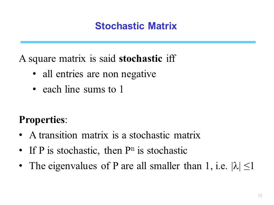 A square matrix is said stochastic iff all entries are non negative