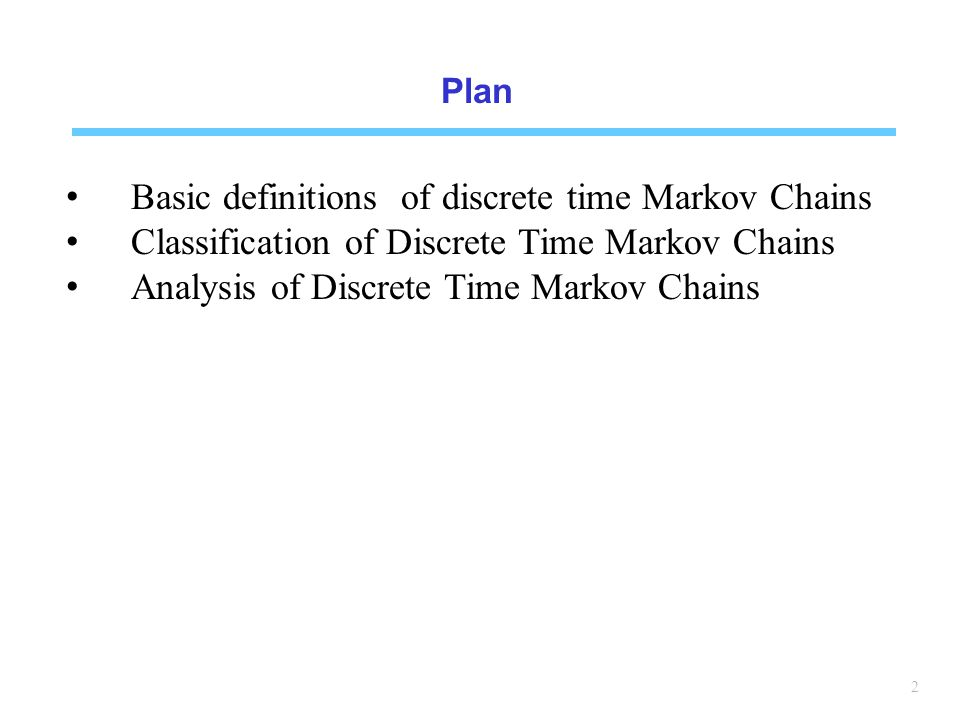 Basic definitions of discrete time Markov Chains