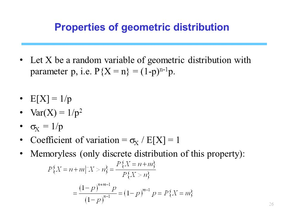 Properties of geometric distribution