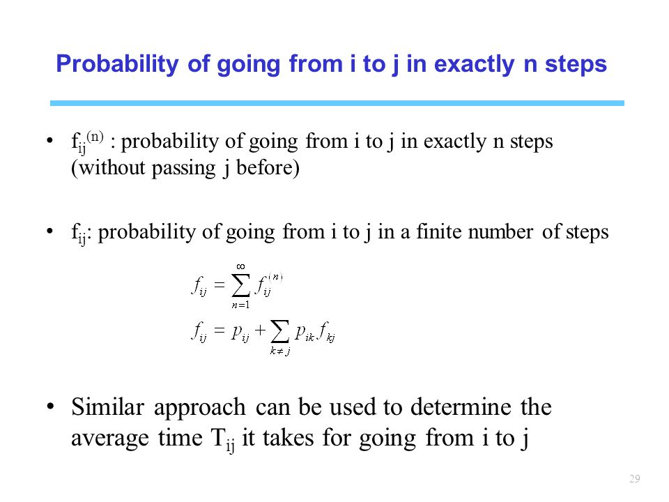 Probability of going from i to j in exactly n steps