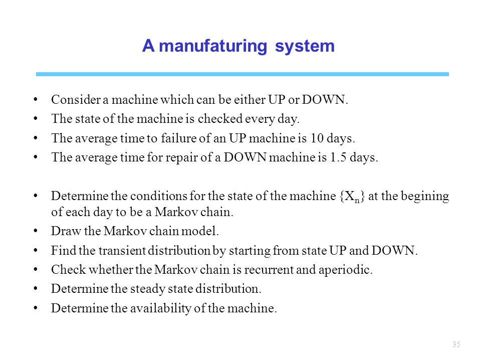 A manufaturing system Consider a machine which can be either UP or DOWN. The state of the machine is checked every day.