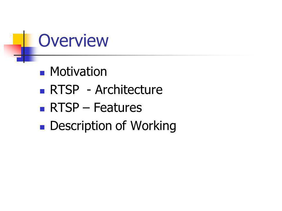 Overview Motivation RTSP - Architecture RTSP – Features