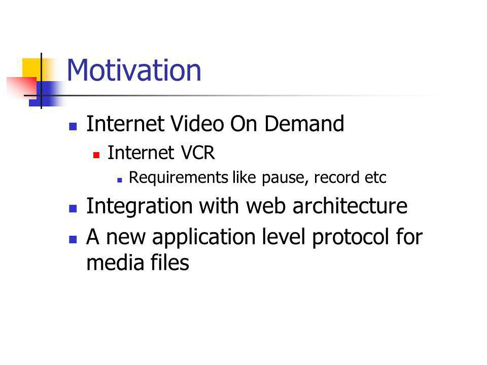 Motivation Internet Video On Demand Integration with web architecture