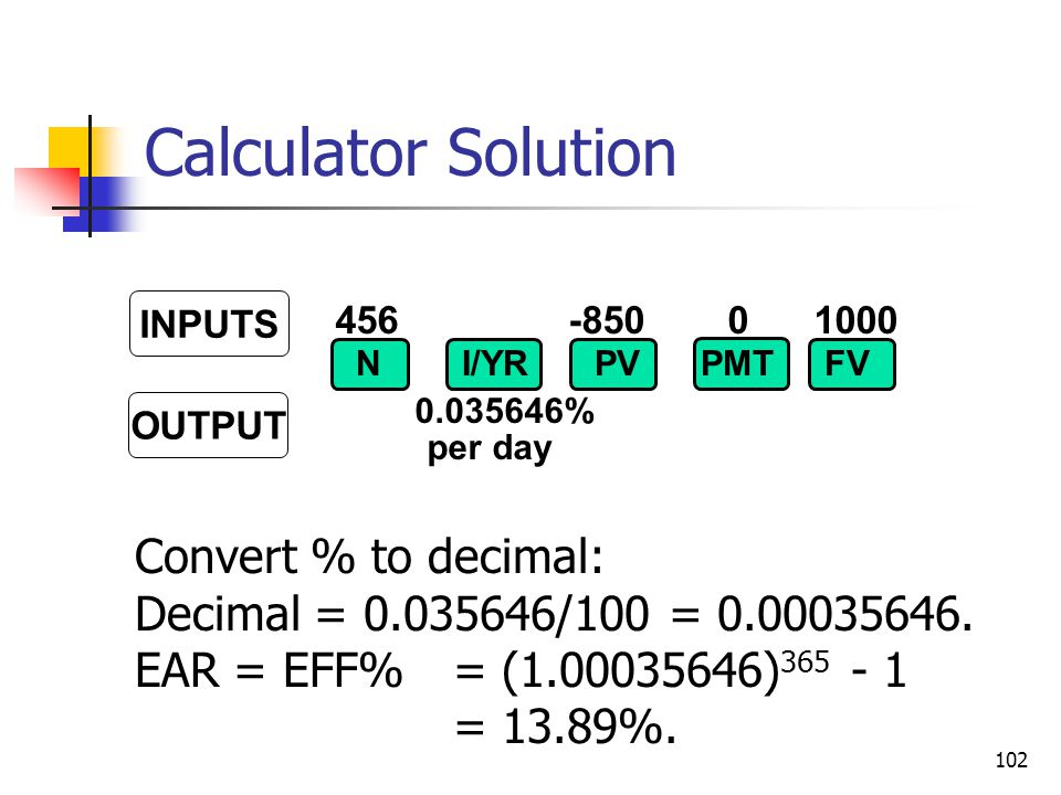 Calculator Solution Convert % to decimal: