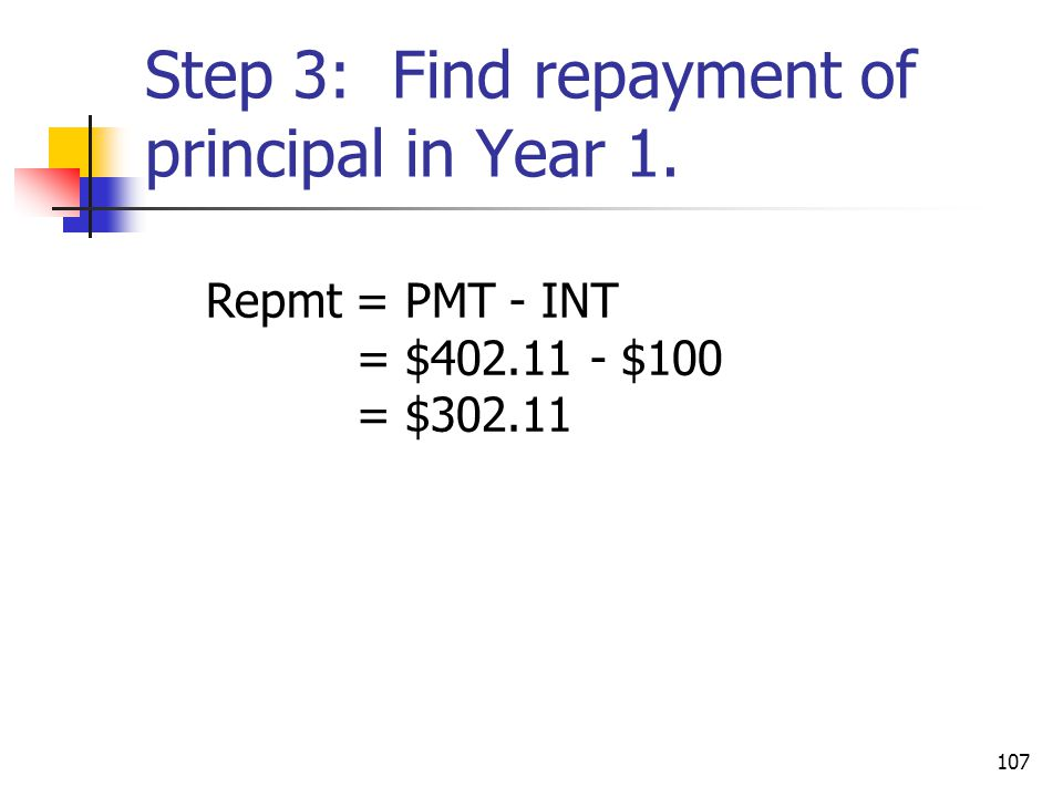 Step 3: Find repayment of principal in Year 1.