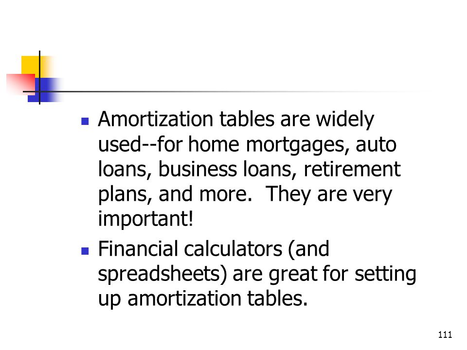 Amortization tables are widely used--for home mortgages, auto loans, business loans, retirement plans, and more. They are very important!
