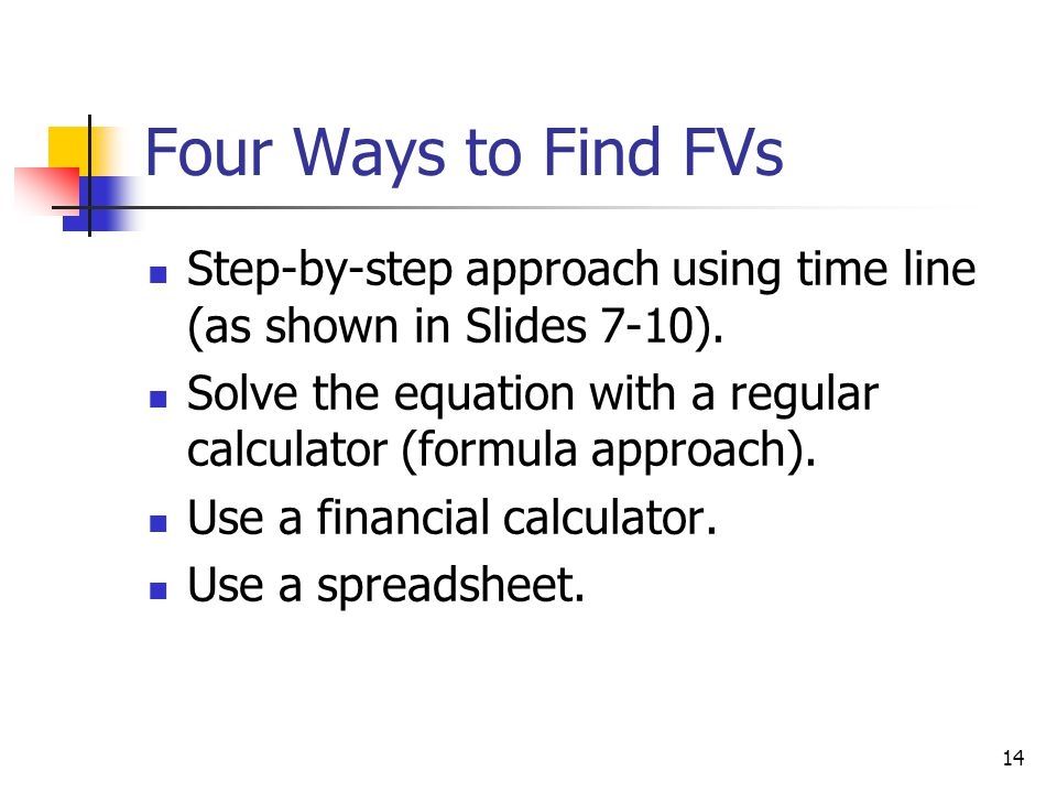 Four Ways to Find FVs Step-by-step approach using time line (as shown in Slides 7-10).