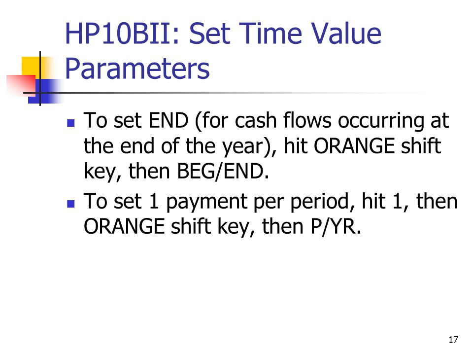 HP10BII: Set Time Value Parameters