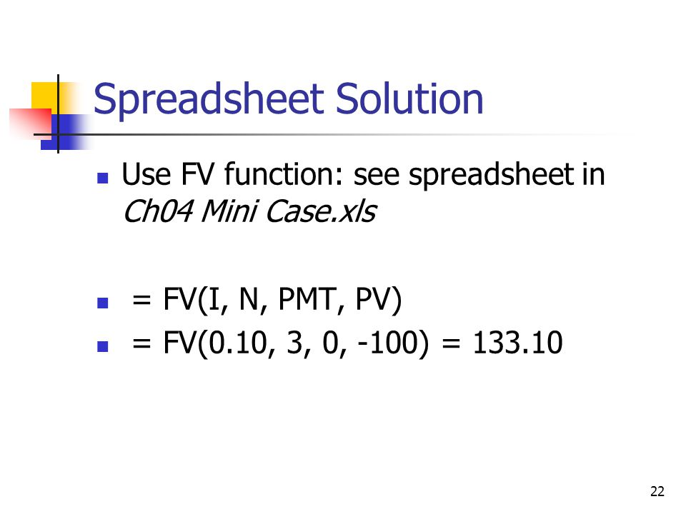 Spreadsheet Solution Use FV function: see spreadsheet in Ch04 Mini Case.xls.