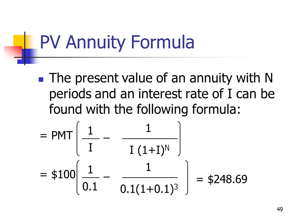 PV Annuity Formula The present value of an annuity with N periods and an interest rate of I can be found with the following formula: